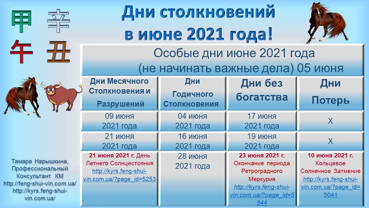 Дни без богатства в июне 2021г