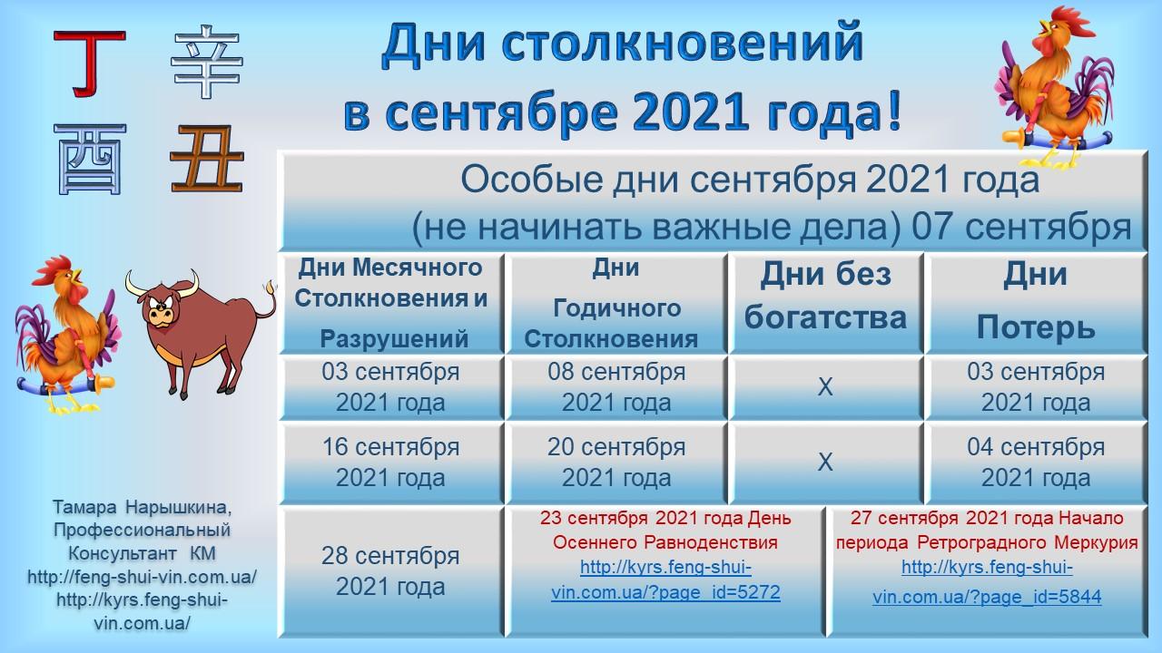 Дни без богатства в сентябре 2021г