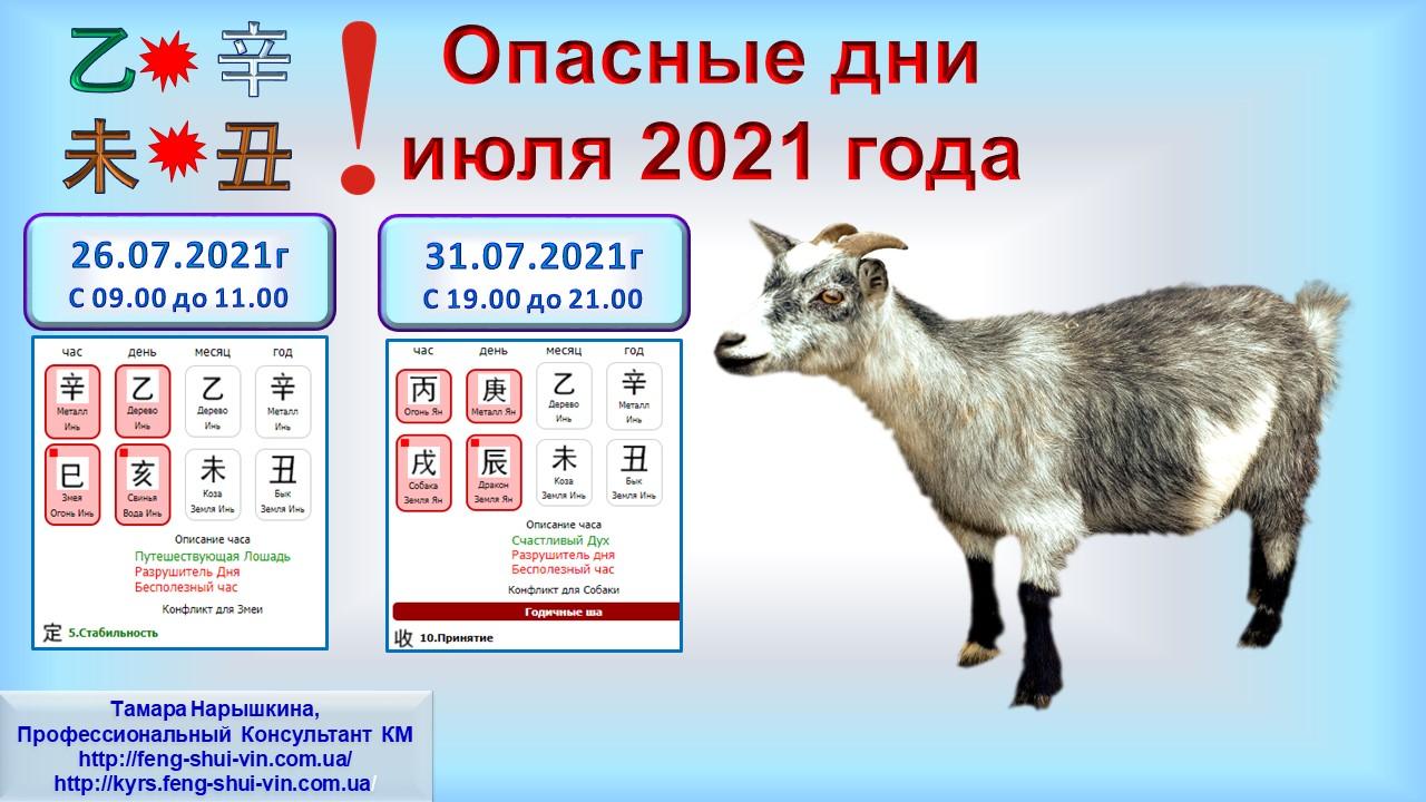 Опасные дни июля 2021 г. ч.3