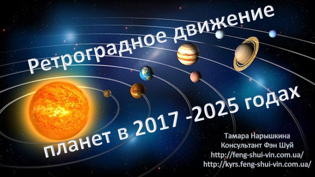 Ретроградное движение планет в 2017 -2025 годах