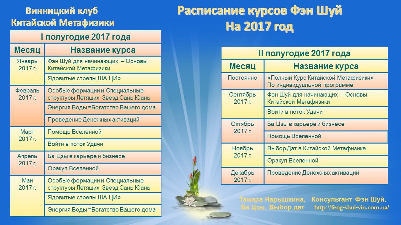 Расписание курсов Фэн Шуй на 2017 год